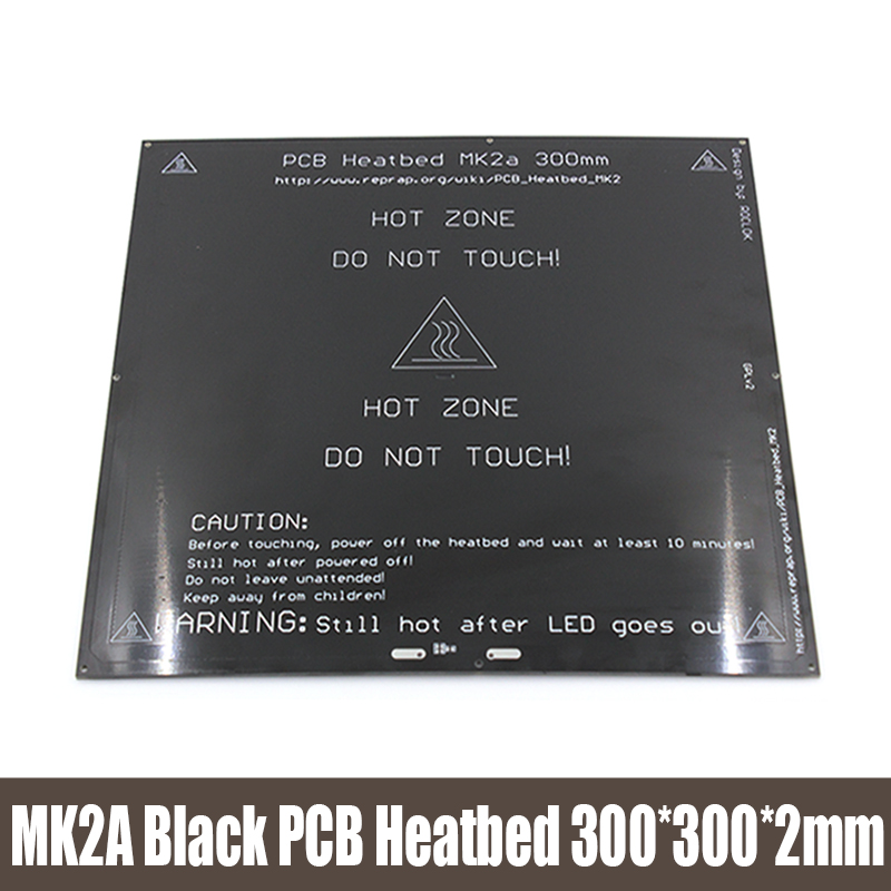 ФОТО MK2A PCB Reprap heatbed 300*300*2.0mm RAMPS 1.4 FR-4 Heater bed Black 12V Hot Plate For 3D Prusa & Mendel Printer 3D0297