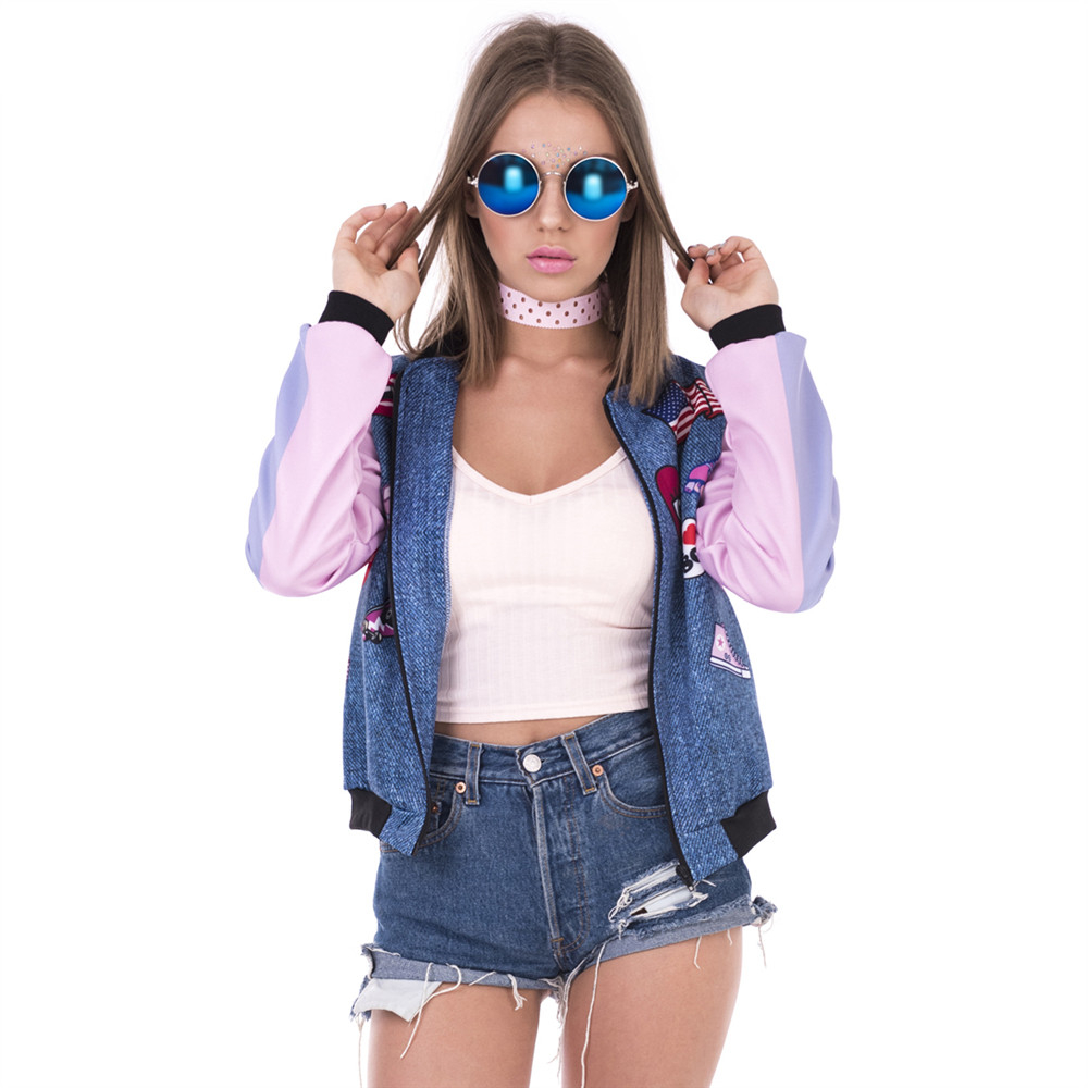 New Arrival Women Bomber   Jacket   Flying Pig Printing Casual Jaqueta Feminina Fashion Sexy   Basic     Jacket   for Woman