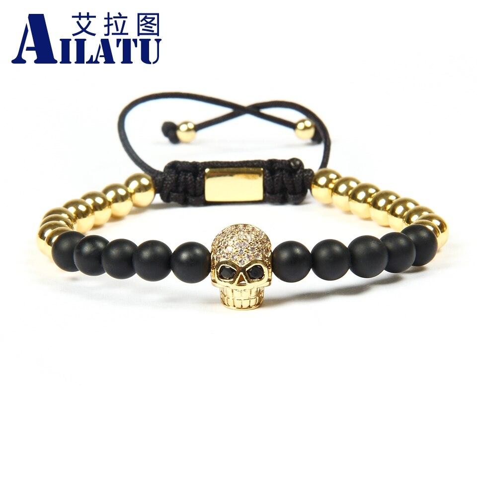 Ailatu Jewelry Wholesale 10pcs lot 6mm Beads Black Cz Eye Male Skull Macrame Bracelets Men diy