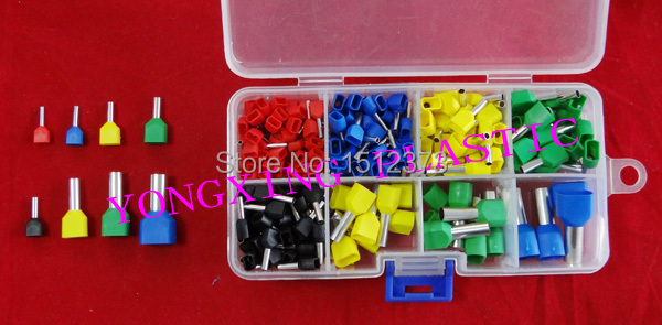 224 PCS/Box twin cord end terminal cable connector splice  insulated terminal block kit  wire cable ferrules 1000pcs lot en0206 naked insulated tube terminal block cord end terminal wire ferrules