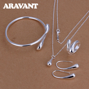 Fashion Wedding Bridal Jewelry Set 925 Silver Jewelry Water Drop Necklace Bangles Rings Earrings Sets For Women Party Gifts 1