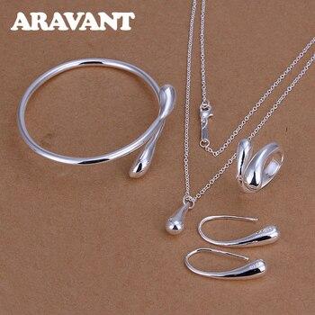 Mode Hochzeit Braut Schmuck Set 925 Silber Schmuck Wasser Tropfen Halskette Armreifen Ringe Ohrringe Sets Für Frauen Partei Geschenke