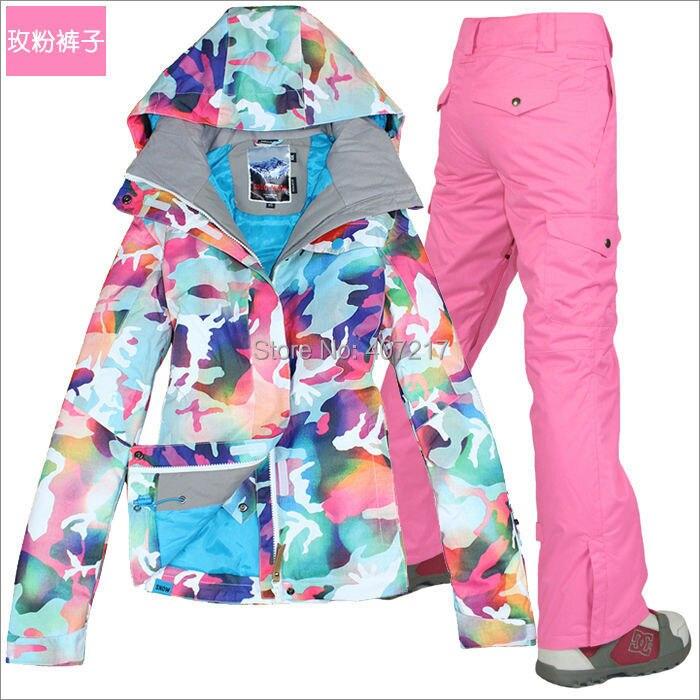 2016 femmes rose skiin costume dames snowboard costume neige porter skiwear femme ski veste et rose ski pantalon imperméable 10 K XS-L