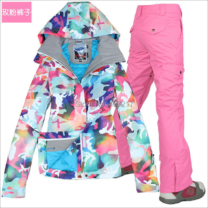 2016 womens pink skiin suit ladies snowboarding suit snow wear skiwear female ski jacket and pink ski pants waterproof 10K XS-L