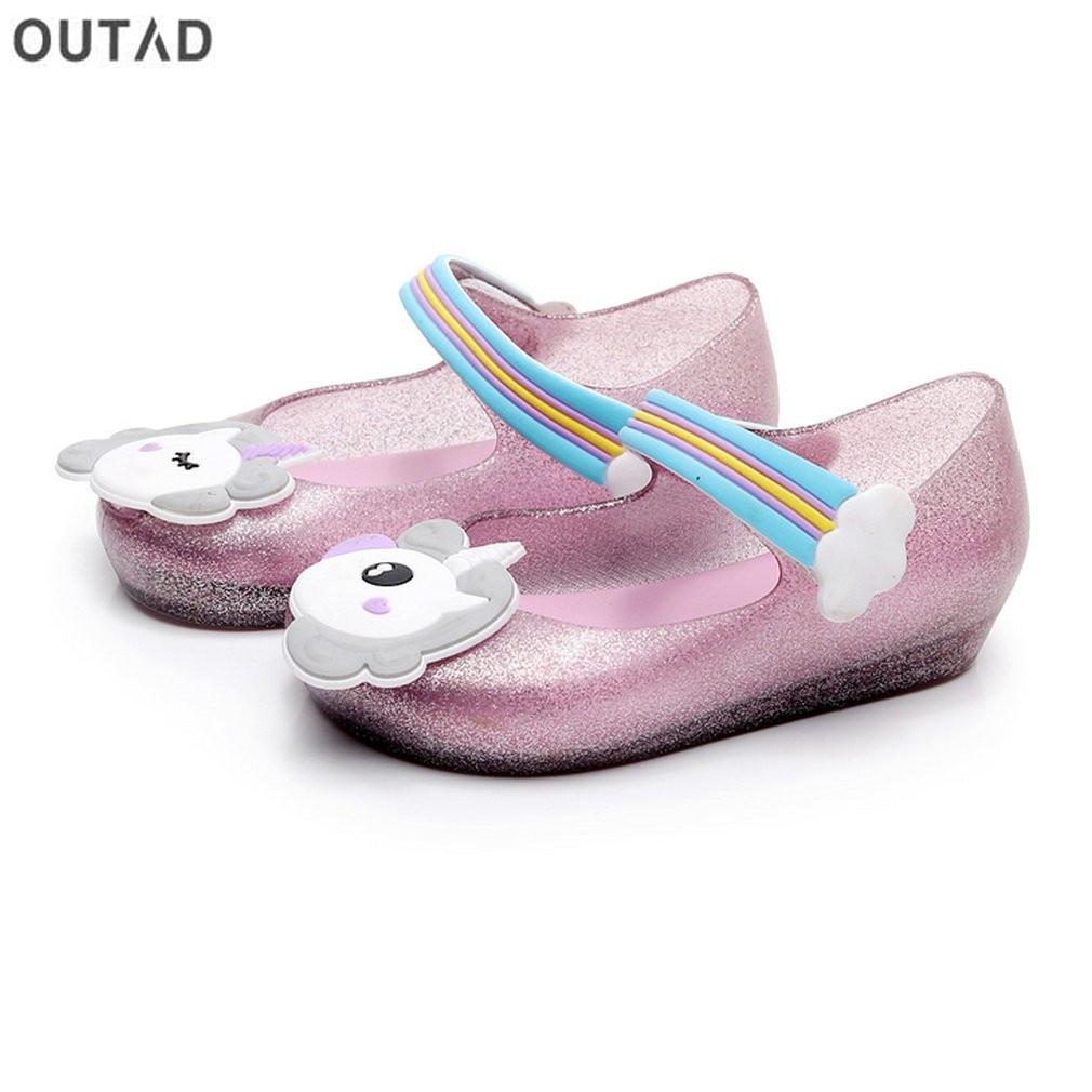 Детские сандалии для девочек противоскользящие прозрачная обувь с единорогом узор Decor & нейлоновая застежка мягкие пляжные сандалии Летняя... ...