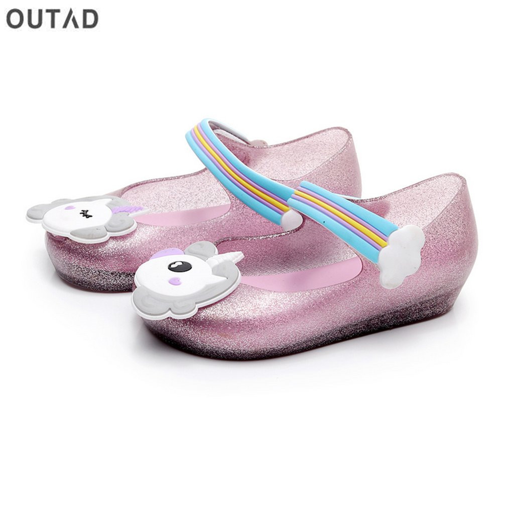Kids Girls Sandals Anti-slip Jelly Shoes with Unicorn Pattern Decor & Nylon Tape Closure ...