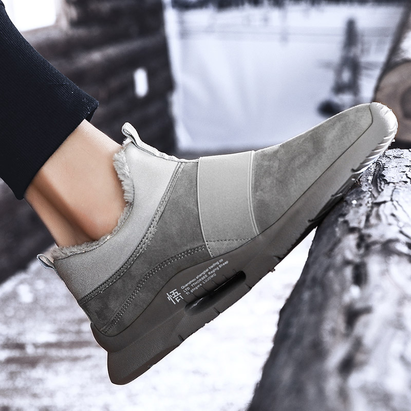 Warm Winter Mens Casual PU Leather Shoes with fur Low-Cut Large Size 39-47 Slip on Comfortable Men Shoes with Short Plush Red 5