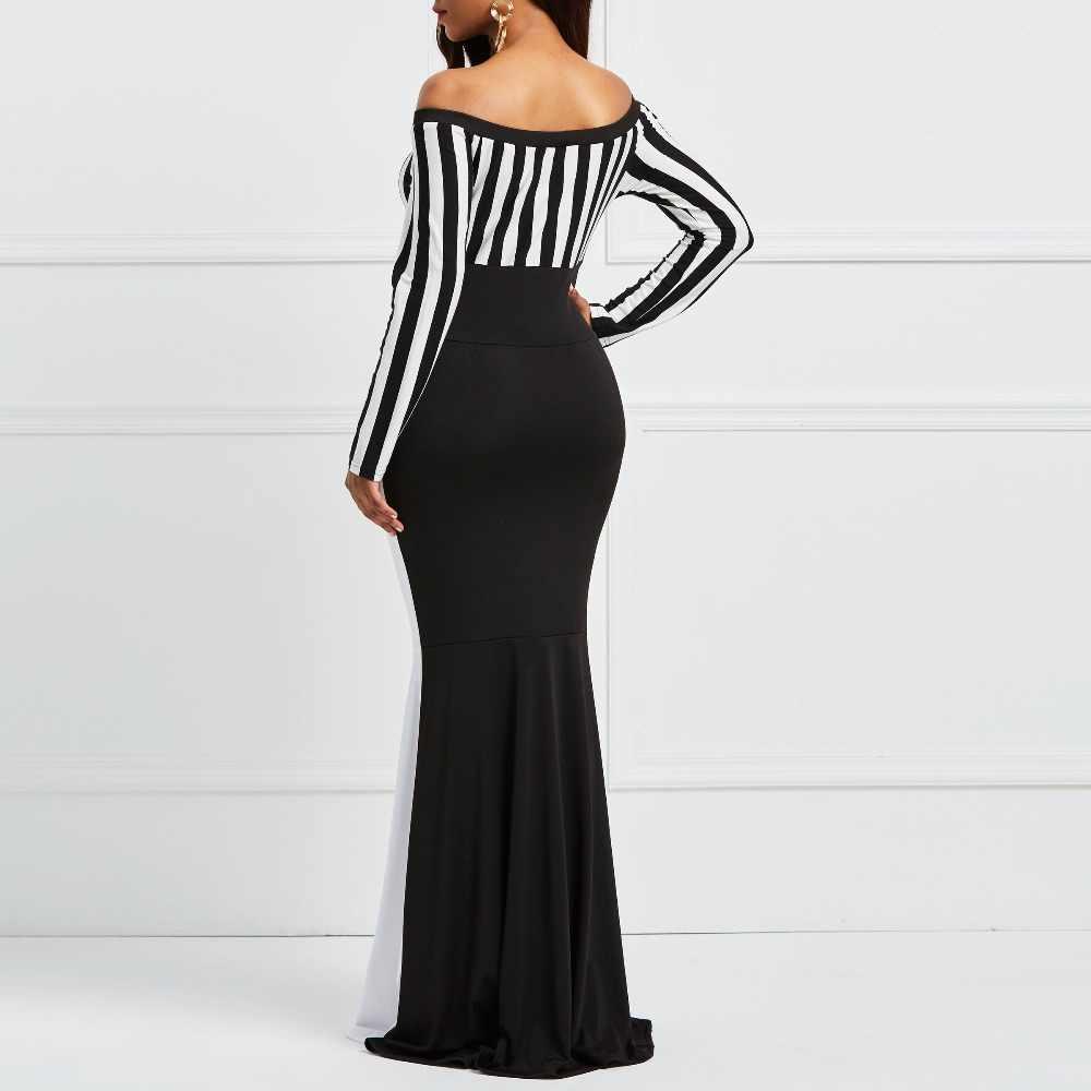 Clocolor vaina vestido elegante mujeres fuera Sholuder a rayas de manga larga Color bloque blanco negro ceñido Maxi sirena vestido de fiesta
