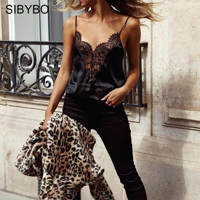 Sibybo Новый Кружева See Through Лоскутная боди Для женщин Спагетти ремень рукавов черный Для женщин комбинезон боди