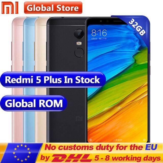 """Оригинальный Xiaomi Redmi 5 плюс 32 ГБ Встроенная память 3 ГБ Оперативная память Snapdragon 625 Octa Core мобильный телефон 5.99 """"2160*1080 4000 мАч 12.0mp miui9"""