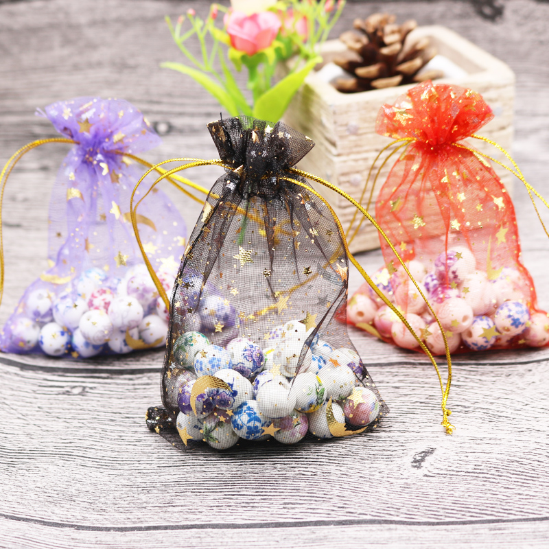 Hotsale 100pcs/lot Moon Star Organza Bags 7x9 9x12cm Small Christmas Drawstring Gift Bag Charms Jewelry Packaging Bags & Pouches 25 35cm 10 pcs lot faory christmas organza bags mini plastic bags