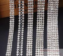 1yard Lot Glass Crystal Rhinestones Trim 2-6 Rows Super Close Diamante  Rhinestone Cake Banding Applique Silver Gold SS12 SS16 4eb15a1d7d22