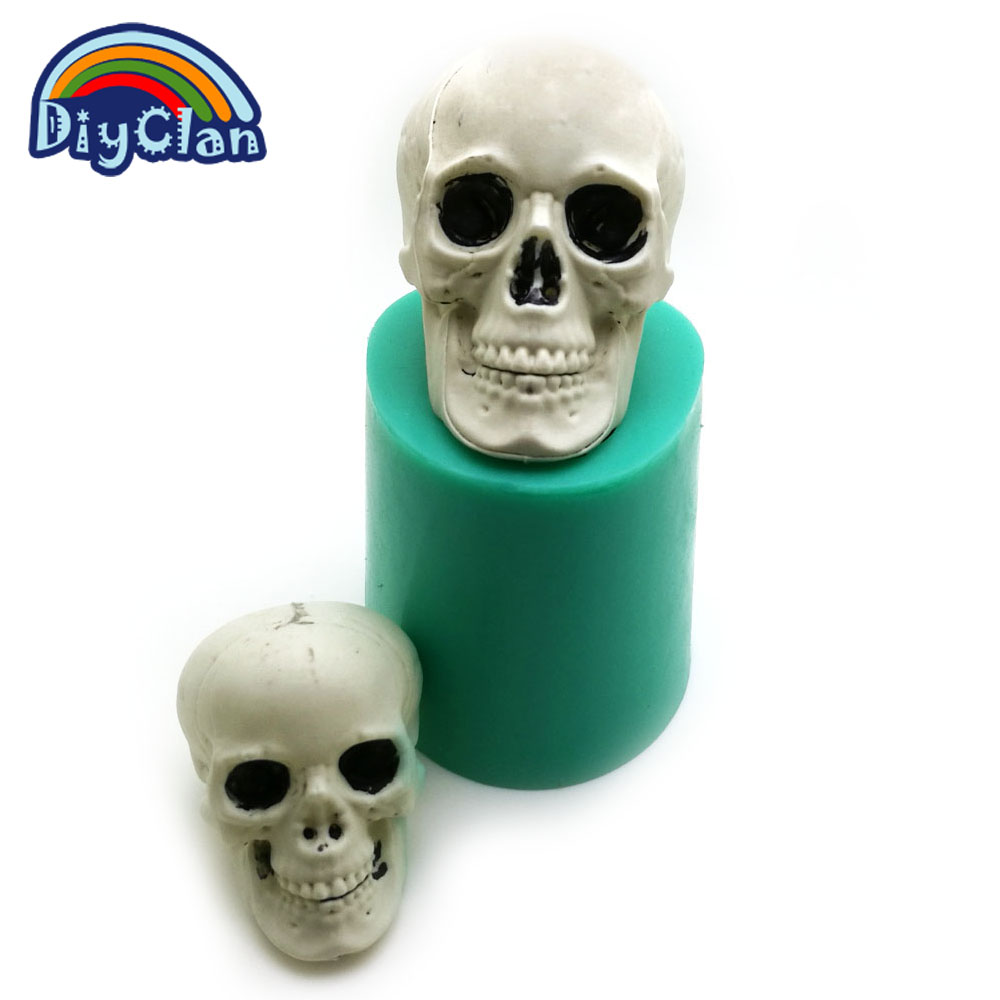 Halloween Skull Silicone Chocolate Mold Interesting Skull Head Candle Mold Handmade Soap Mould Cake Tools For The Kitchen Baking