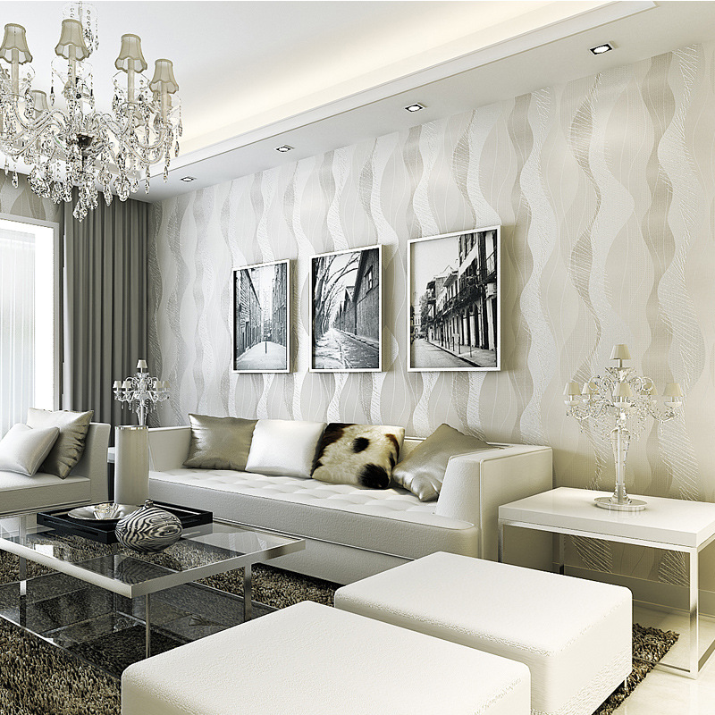 Beibehang Einfache Welle Streifen Silber Grau Asche Gold Non Woven Wohnzimmer Fernsehhintergrund Papel De Parede Behang