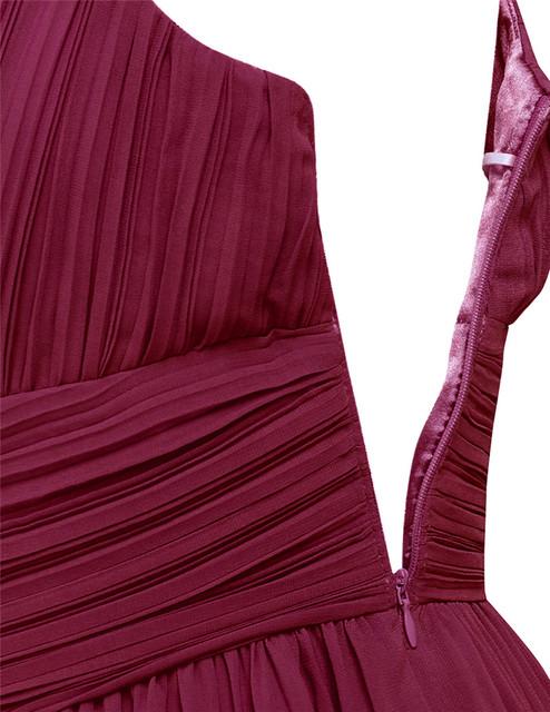 TiaoBug Long Chiffon Bridesmaid Dresses One Shoulder Beading Light Green Black Burgundy Dark Purple Gray Bridesmaid Dress Gown