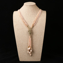 Elegant atmosphere knot glass beads fashion ladies sweater necklace
