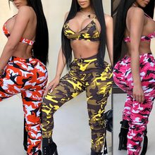 Buy Women 2 Pieces Set Camouflage Military Army High Waist Trousers Zipper Pants Halter Bikini Bra Crop Top Backless wholesale
