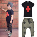 Fashion clothing baby boy clothes suit Cross short sleeve T Shirt & Long harem Pants 2pcs brand baby girl kids clothing set