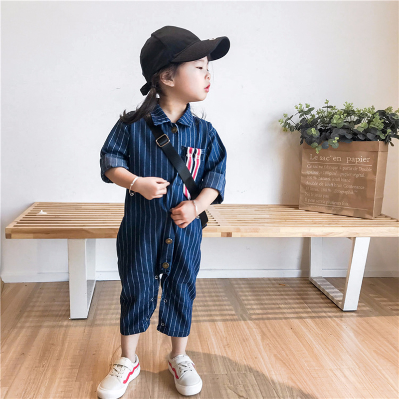 Baby Rompers Kids Denim Jumpsuits long Sleeve Roupas Bebes Jeans Overalls One Piece Unisex Striped Pants 2018 Korea Baby Clothes summer men s casual loose denim jumpsuits overalls bib pants light blue cargo pants plus size gardener capris size xs 5xl