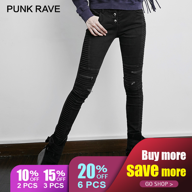 PUNK RAVE Steampunk Vintage Skinny   Jeans   For Women Black Tight Pants Gothic Rock Punk Casual Stretch Denim Trousers Patchwork