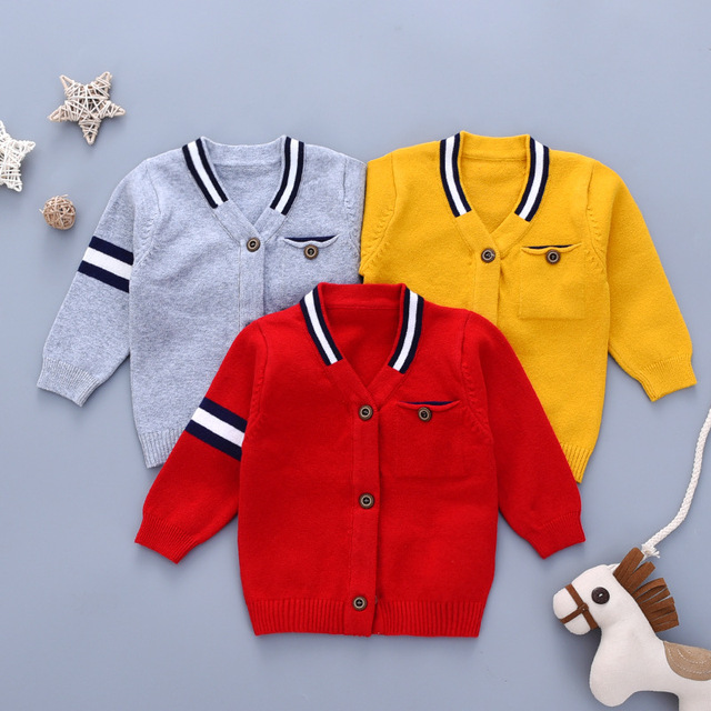 439502a6d Newborn Baby Sweater Cardigans for Boys Knit Jackets Autumn Grey Casual  Outerwear Toddler Knitwear Coats Winter Warm Infant Tops