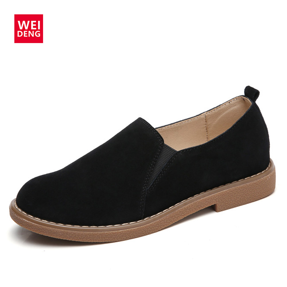WeiDeng Cow Suede Genuine Leather Loafers Shoes Flats Slip On Ladies Women's Boat Shoes Moccasin Women Zapatos Mujer Handmade handmade women loafers round toe genuine leather flats female soft moccasin gommino breathable boat shoes chaussure xk052506