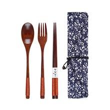 Портативный набор столовых приборов Baispo, набор деревянных столовых приборов с полезной ложкой, вилкой, палочками для еды, дорожный подарок, набор посуды с тканевой сумкой