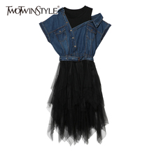 TWOTWINSTYLE Denim Patchwork Dress Female Mesh Short Sleeve Off Shoulder Sashes High Waist Asymmetrical Midi Dresses 2019 Tide
