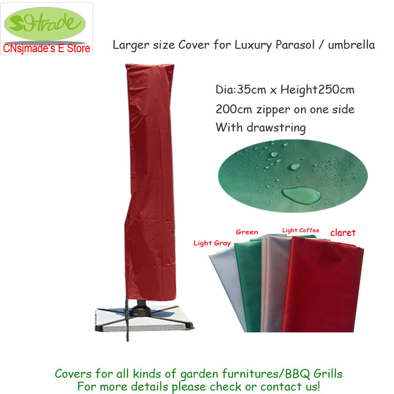 Larger size cover for luxury parasol/umbrella, D35xH250cm, 200cm zipper on one side, Waterproof and Dustproof, four colors