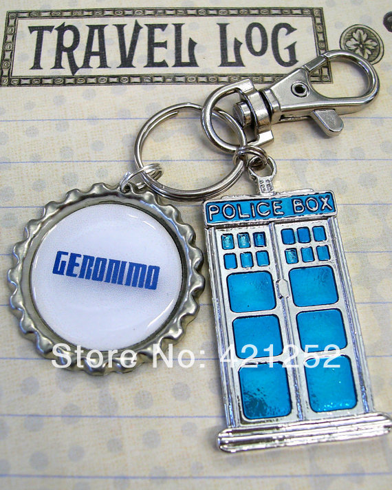12pcs/lot Doctor who Tardis Blue Police Box Geronimo!, 11th Doctor Key Ring, Whovian Key Chain, Backpack Clip