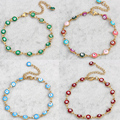 Evil Eye jewelry Bracelet Stainless Steel gold plated Colorful Enamel Evil Eye Charm Chain Bracelet Bangles For Men Womens