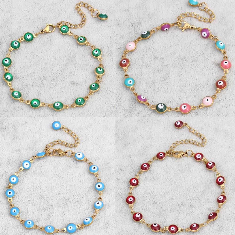 Evil Eye jewelry Bracelet gold Colour plated Colorful Enamel Evil Eye Charm Chain Bracelet Bangles For Men Women