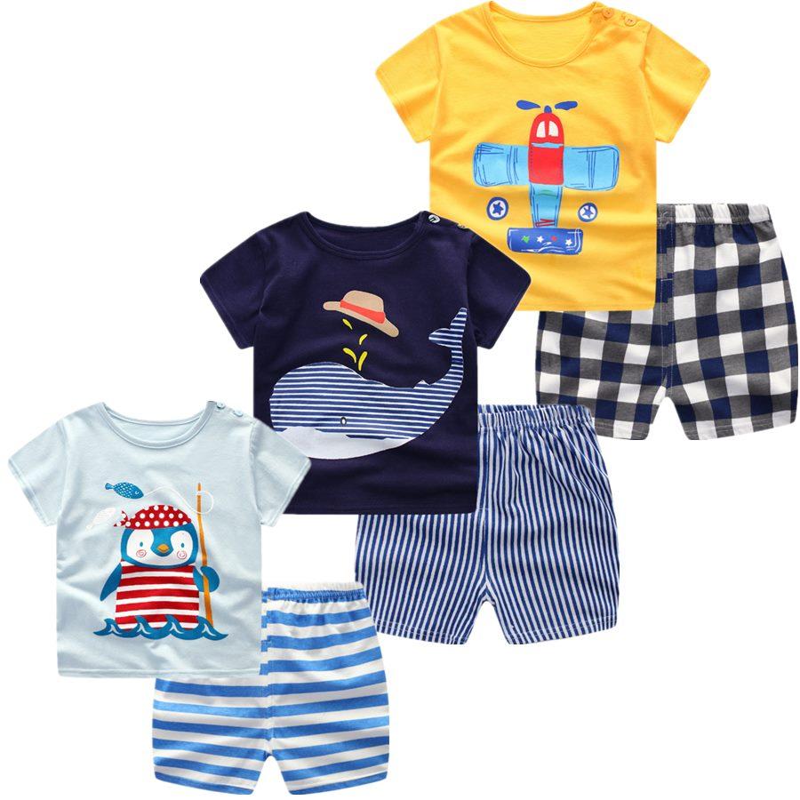 3 pçs/lote 2018 Do Bebê Das Meninas Dos Meninos Conjunto de Roupas de Verão Dos Desenhos Animados de Algodão de Manga Curta Bebê Recém-nascido Roupas Outerwear Terno Camisetas