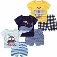3pcs/lot 2018 Baby Boys Girls Clothing Set Summer Short Sleeve Cartoon Cotton Infant Newborn Clothes Suit Outerwear T-shirts
