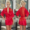 5 colors XXL XXXL Plus Size Sexy Hot Lingerie Satin Robe Sleepwear Women Erotic Underwear Lace Red Kimono Lenceria Nightdress