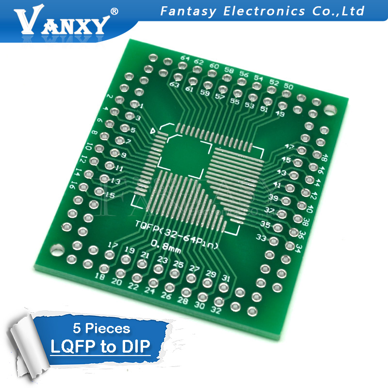5PCS FQFP TQFP 32 44 64 80 <font><b>100</b></font> LQFP to DIP Transfer Board DIP Pin Board Pitch Adapter image