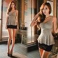 NOVAS Mulheres Cinta Peplum Regatas Cami Senhoras Chiffon Camisas Sem Mangas Casuais Colete Singlets blusa Tops 38
