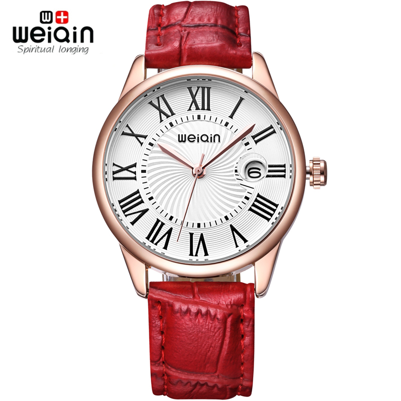 WEIQIN Brand Women Fashion Watches Rose Gold Leather Strap Casual Watch Ladies Magnifying Glass Date Hours reloje mujer relogios