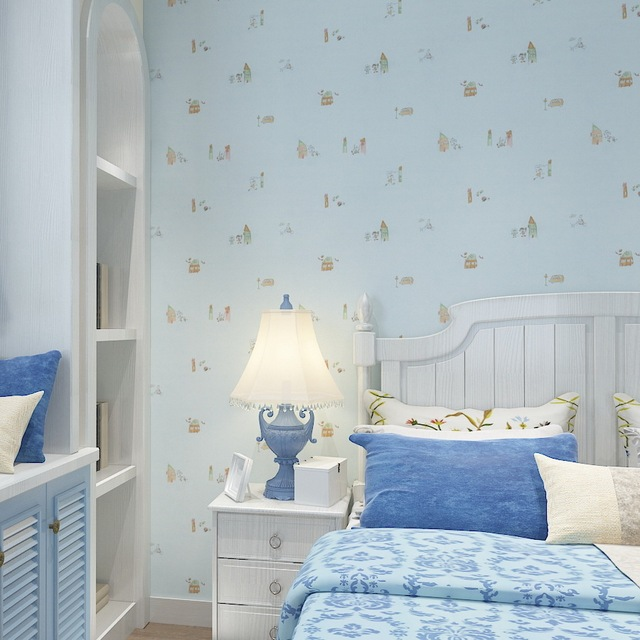 Colors For Kids Room: Light Green Cartoon Wallpaper For Kids Room Baby Bedroom