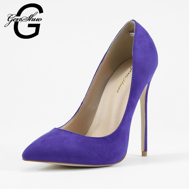 GENSHUO Women High Heel Shoes Pumps Lady Sexy Pointed Toe Wedding Shoes Lavender Faux Suede Stiletto Heels Dress Shoes
