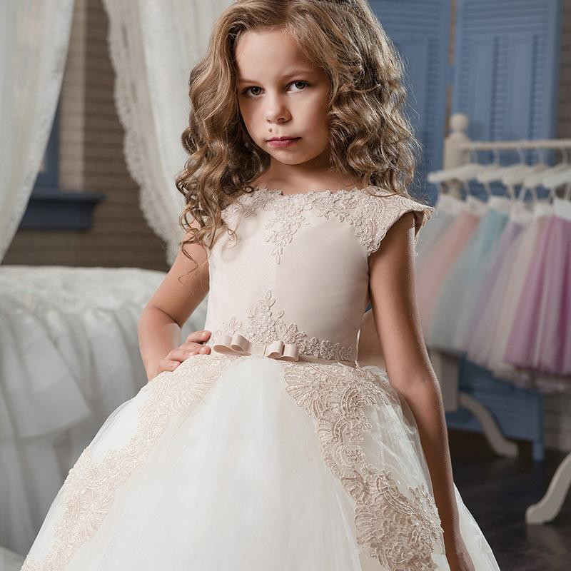 Elegant Cap Seeves Lace A Line   Flower     Girl     Dresses   Tulle Applique Bow Sash Floor Length Gilrs Pageant Party   Dresses