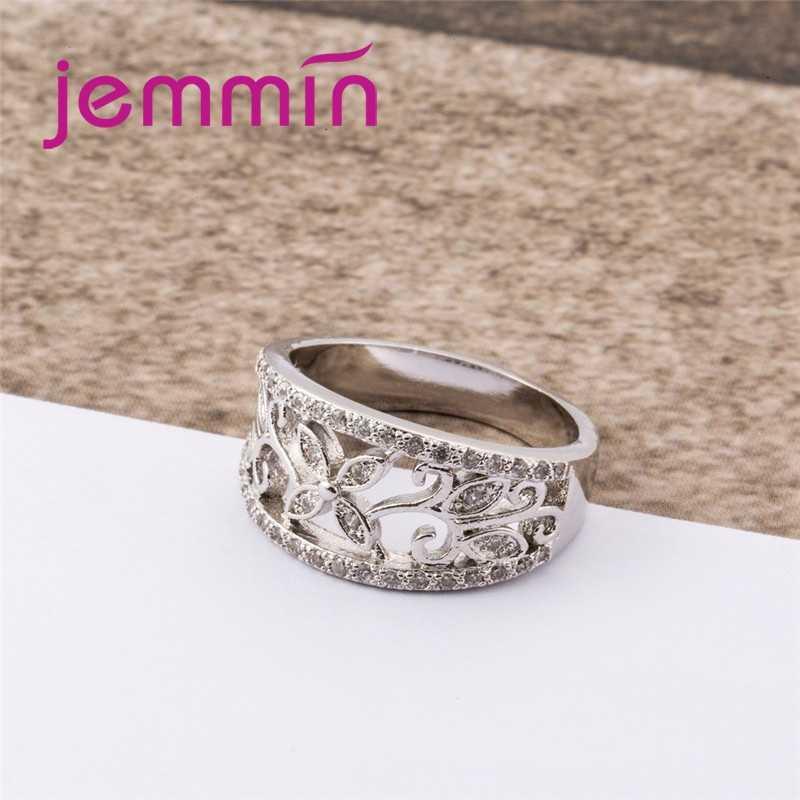 ขายส่งผู้หญิง Noble ดอกไม้สไตล์ที่น่าสนใจสีขาว CZ Garnet 925 แหวนเงินแท้ขนาด 6 7 8 9 10 Charming เครื่องประดับ