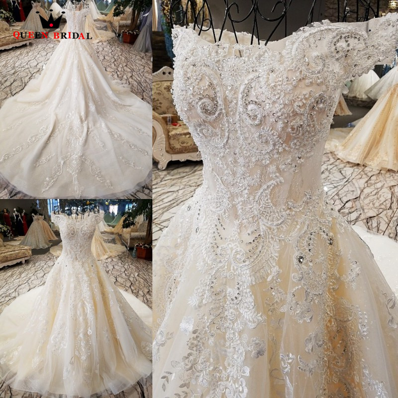 Luxurious Ball Gown Lace Crystal Beaded Wedding Dresses Ivory Long Formal Bridal Wedding Gowns 2020 New Design Custom Made XG07M