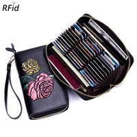 Women Rose Painted Long Wallet Multi card Business Credit ID Card Holder Multifunction Rfid Anti theft Clutch Money Bag Purse