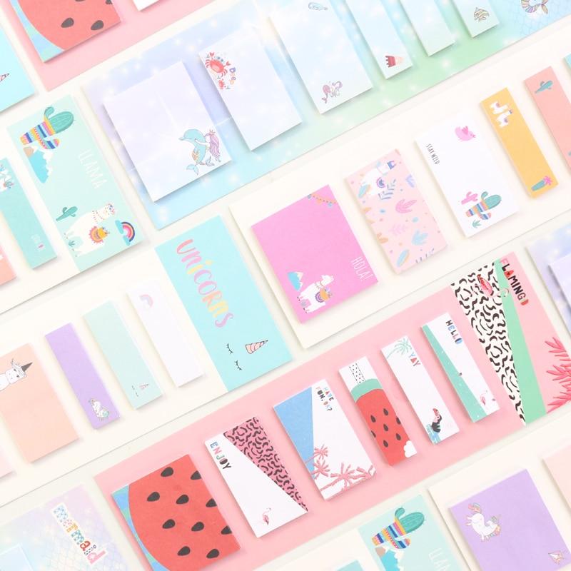 Domikee Candy Kawaii Cartoon Unicorn Alpaca Flamingo Mermaid Pattern Kids Sticky Memo Pad Sticker Notes Stationery 120pieces