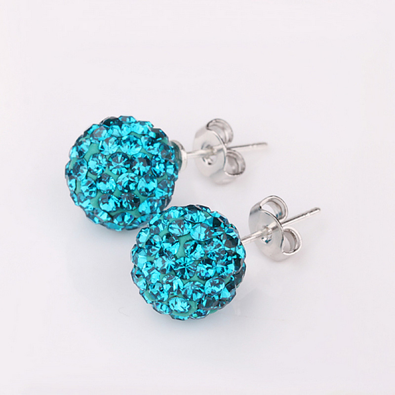 New Arrival Fashion Jewelry 1 Pair Blue Zircon Disco Ball Ring Earrings Ear Clip For Women Gift KQS