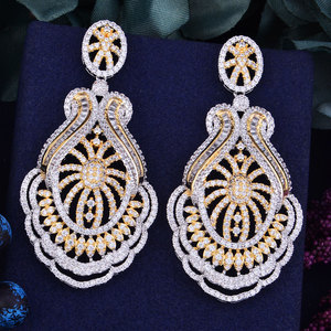 Image 1 - GODKI 65mm luxe populaire fleur feuille plein Mirco réglage cubique zircone Naija mariage boucle doreille bijoux de mode pour les femmes