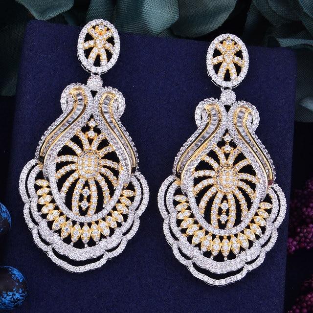 GODKI 65mm luxe populaire fleur feuille plein Mirco réglage cubique zircone Naija mariage boucle doreille bijoux de mode pour les femmes