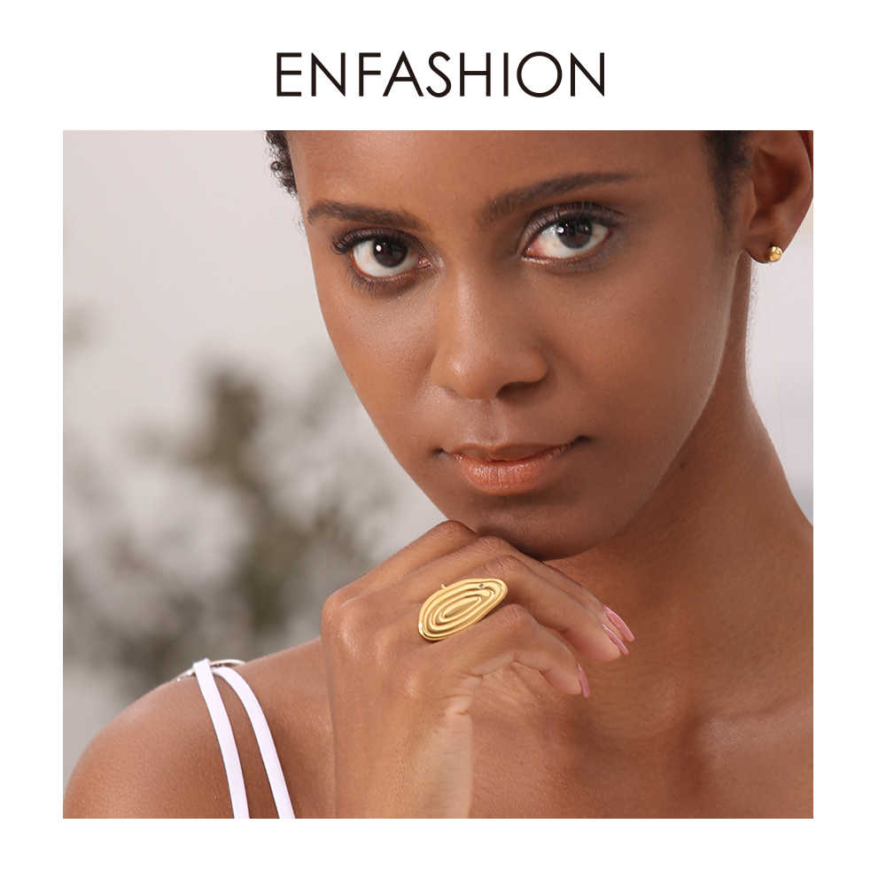 Enfashion Years Rings For Women Gold Color Stainless Steel Big Annual Ring Adjustable Fashion Jewelry Anillos Mujer 2019 R184008