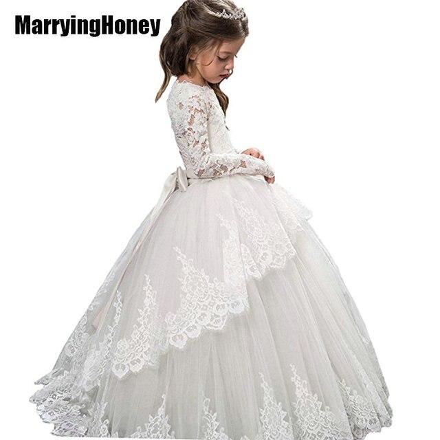 Custom Made Lace Tulle Long Lovely Bridal Wedding Flower Girl ...